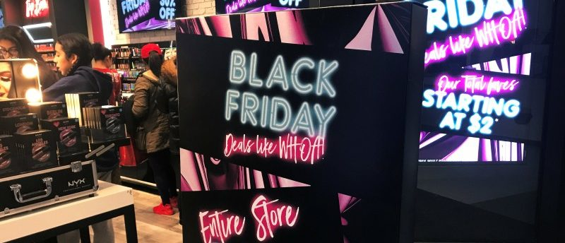 A Black Friday sale sign is displayed outside a makeup store at Roosevelt Field shopping mall in Garden City, New York, U.S., November 24, 2017. REUTERS/Shannon Stapleton