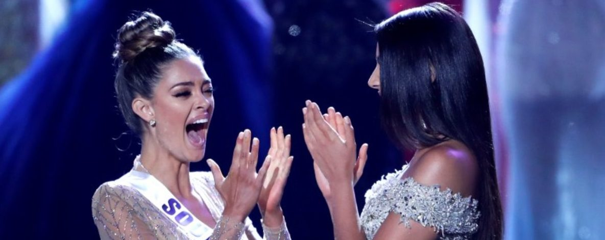 Miss South Africa Demi-Leigh Nel-Peters (L) reacts with first runner-up Miss Colombia Laura Gonzalez as Nel-Peters is announced as Miss Universe during the 66th Miss Universe pageant at Planet Hollywood hotel-casino in Las Vegas, Nevada, U.S. November 26, 2017. REUTERS/Steve Marcus