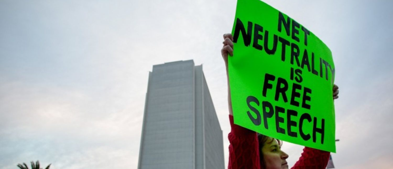 Supporters of Net Neutrality protest the FCC's recent decision to repeal the program in Los Angeles, California, November 28, 2017.