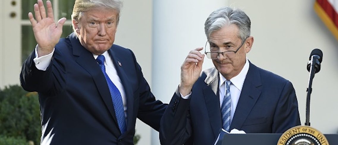 US President Donald Trump (L) signals the end of ceremony after announcing Jerome Powell (R) as nominee for Chairman of the Federal Reserve in the Rose Garden of the White House in Washington, DC, November 2, 2017. / AFP PHOTO / SAUL LOEB (Photo credit should read SAUL LOEB/AFP/Getty Images)
