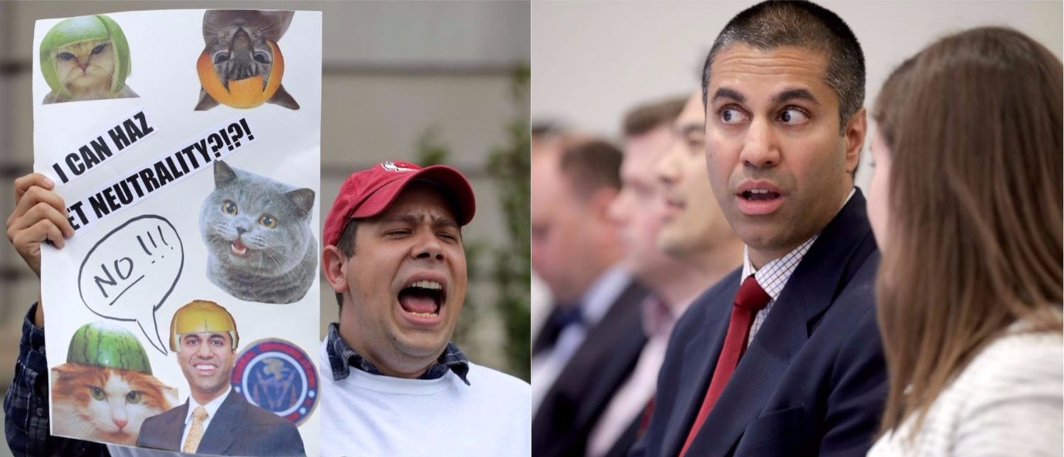L: Proponents of net neutrality protest against Federal Communication Commission Chairman Ajit Pai outside the American Enterprise Institute before his arrival May 5, 2017 in Washington, DC. (Photo by Chip Somodevilla/Getty Images) R: Federal Communication Commission Chairman Ajit Pai (2nd R) prepares to deliver remarks and participate in a discussion at The American Enterprise Institute for Public Policy Research May 5, 2017 in Washington, DC. (Photo by Chip Somodevilla/Getty Images)