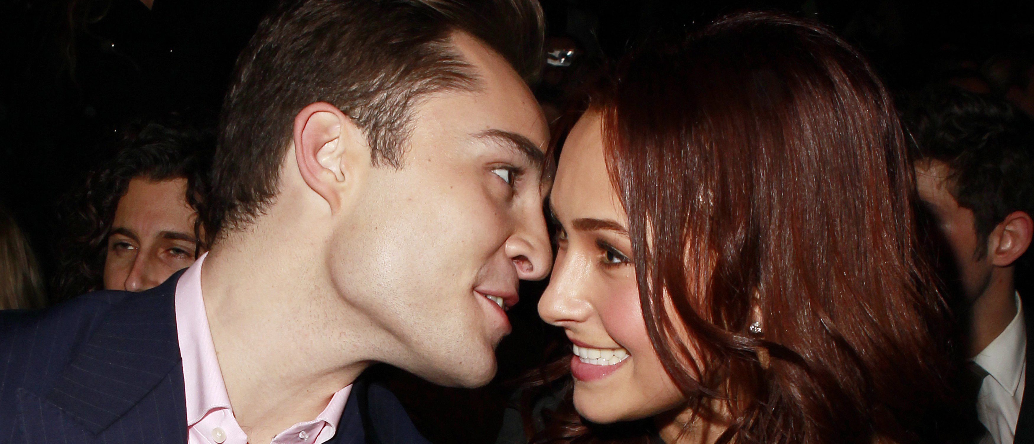 Actor Ed Westwick (L) chats with actress Hayden Panettiere on the front row of the Tommy Hilfiger Fall 2010 collection during New York Fashion Week February 18, 2010. (Photo: REUTERS/Carlo Allegri)