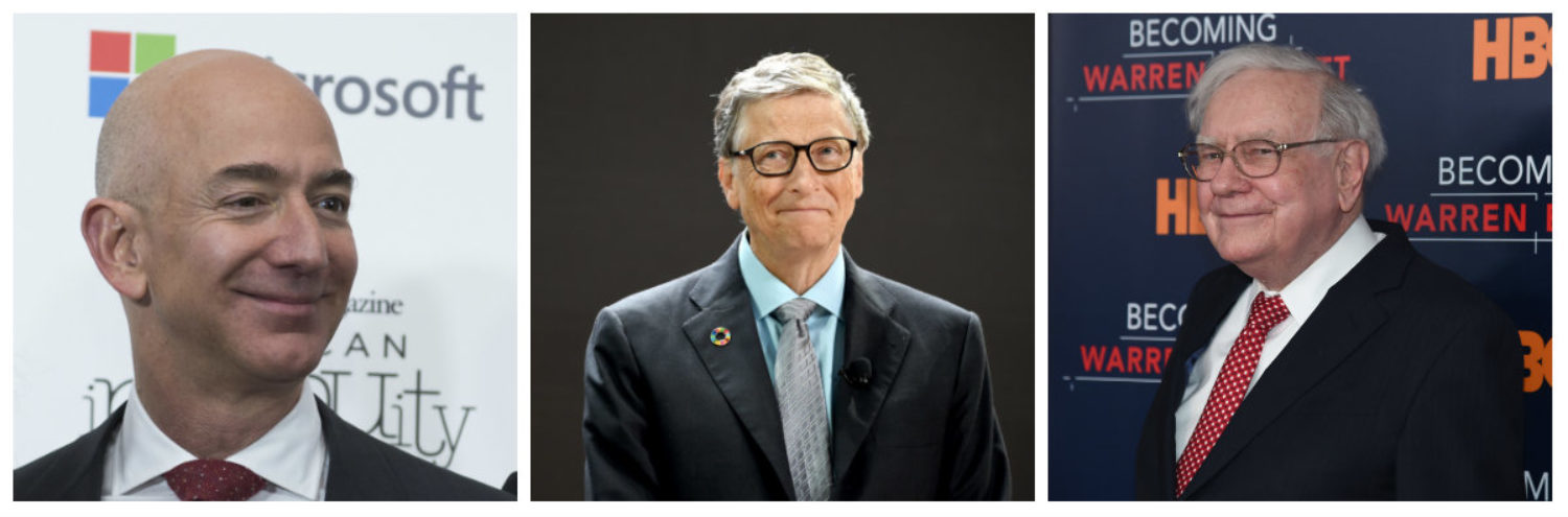 Microsoft founder Bill Gates, Amazon CEO Jeff Bezos, and business magnate Warren Buffett are as wealthy as the bottom half of the U.S. population combined. Left: Jeff Bezos (Photo: MOLLY RILEY/AFP/Getty Images) Center: Bill Gates (Photo by Jamie McCarthy/Getty Images for Bill & Melinda Gates Foundation) Right: Warren Buffett (Photo by Jamie McCarthy/Getty Images)