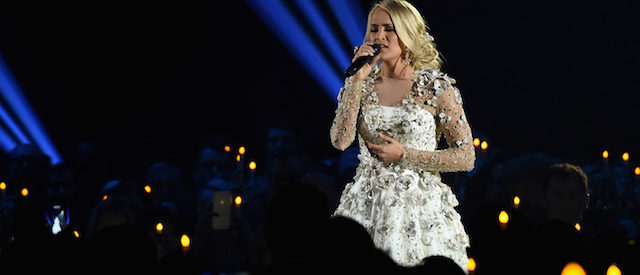 Carrie Underwood performs onstage at the 51st annual CMA Awards at the Bridgestone Arena on November 8, 2017 in Nashville, Tennessee.  (Photo by Rick Diamond/Getty Images)