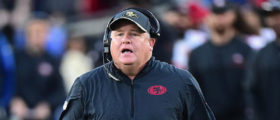 Head coach Chip Kelly of the San Francisco 49ers reacts during the game against the Los Angeles Rams at Los Angeles Memorial Coliseum on December 24, 2016 in Los Angeles. (Photo by Harry How/Getty Images)