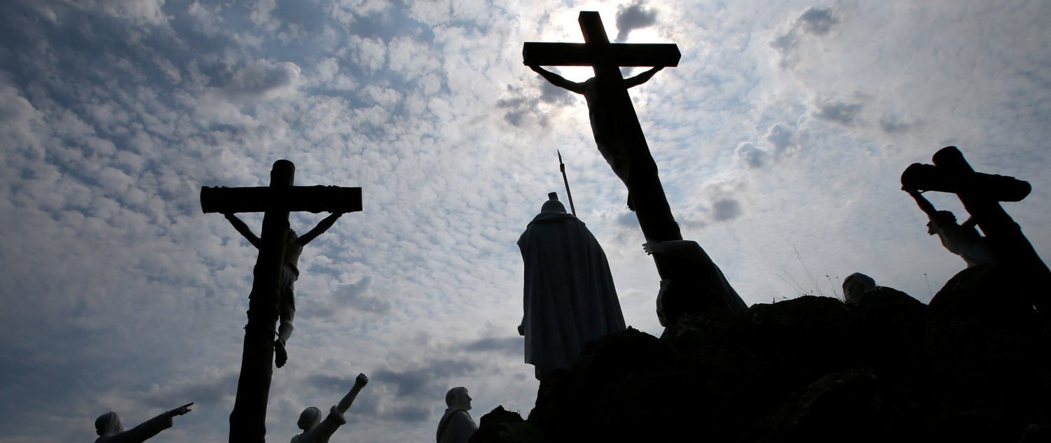 Crucifixes and statues are seen at the Calvary of St Louis-Marie Grignion de Montfort in the Calvary of Pontchateau, France, August 24, 2017. (Photo: REUTERS/Stephane Mahe)