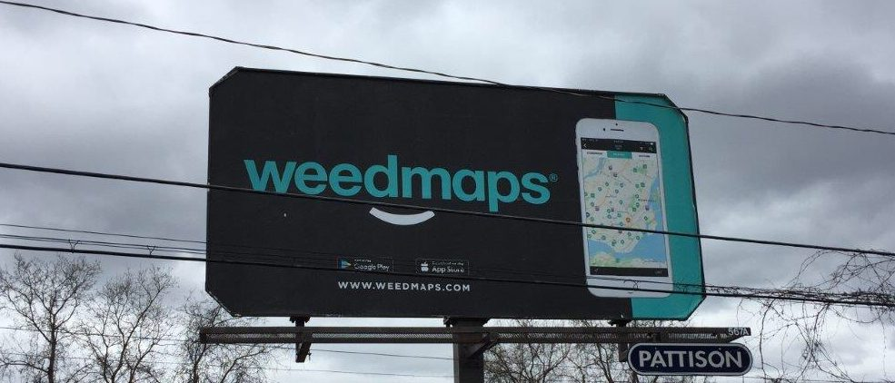 Picture of Montreal billboard advertising Weedmaps website that was removed after complaints that it violated the law. (Photo by Ben Anson provided to The Daily Caller by Smart Approaches to Marijuana)