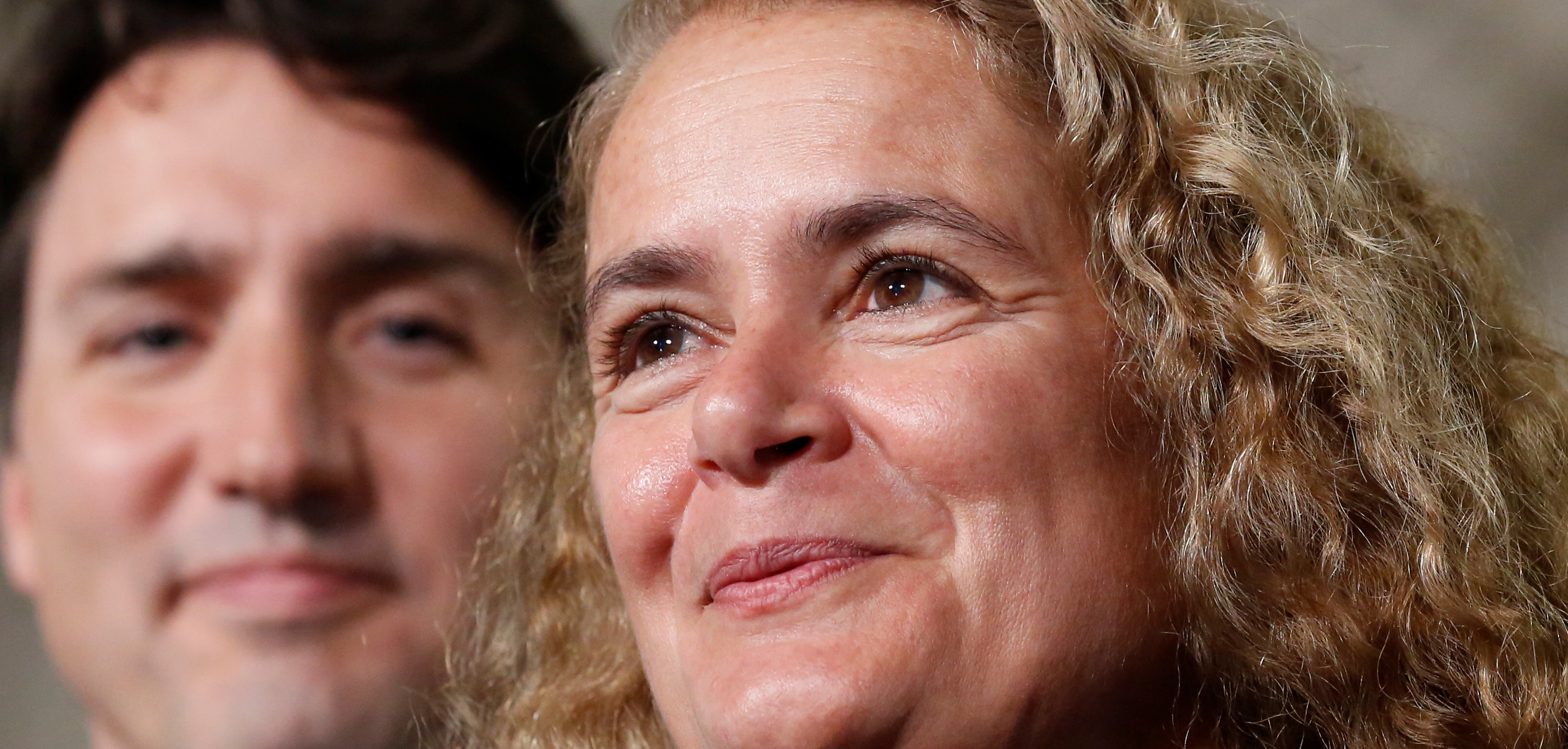 Former astronaut Julie Payette (R) and Canada's Prime Minister Justin Trudeau take part in a news conference announcing Payette's appointment as Canada's next governor general, in the Senate foyer on Parliament Hill in Ottawa, Ontario, Canada, July 13, 2017. REUTERS/Chris Wattie