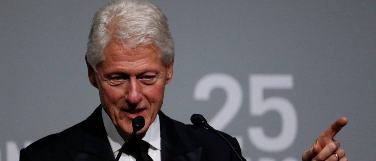 Former President Bill Clinton speaks during the commemoration of the Elton John AIDS Foundation 25th year fall gala at the Cathedral of St. John the Divine in New York City, in New York, U.S. November 7, 2017. REUTERS/Shannon