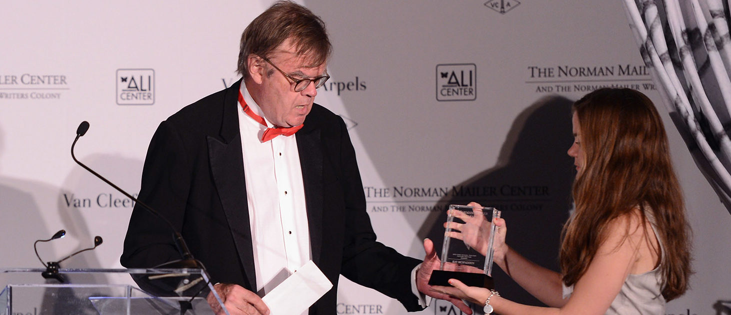 Writer Garrison Keillor (L) speaks onstage during the Norman Mailer Center 4th Annual Benefit Gala on October 4, 2012 in New York City. (Photo by Stephen Lovekin/Getty Images for Norman Mailer Center)