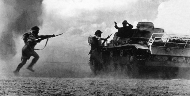 The battle at El Alamein, which began 23 October 1942 and ended 12 days later, a culmination of two years of fighting in north Africa between 100,000 German and Italian troops, led by German Field Marshall Rommel and 150,000 Commonwealth and allied forces under the command of British Field Marshal Montgomery, proved a decisive allied victory, helping to establish control in the mediterranean and securing the Suez Canal. / AFP PHOTO / - (Photo credit should read -/AFP/Getty Images)