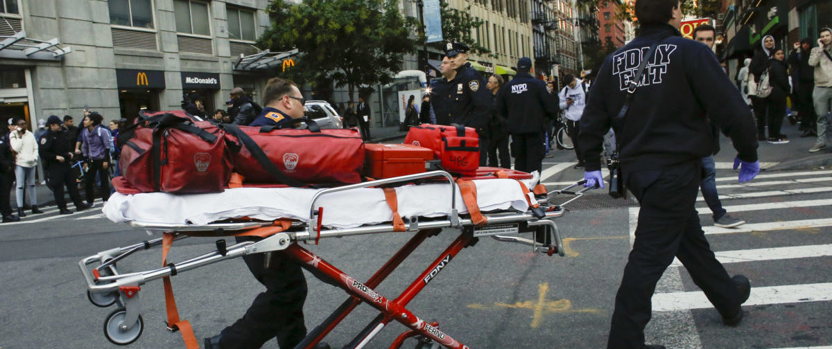 NEW YORK, NY - OCTOBER 31: Emergency personal respond after a man driving a rental truck struck and killed eight people on a jogging and bike path in Lower Manhattan on October 31, 2017 in New York City. Officials are reporting up to 8 dead and at least 15 people have been injured. (Photo by Kena Betancur/Getty Images)