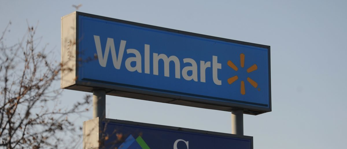 A Walmart store sign outside the Ferguson Walmart Shopping Center. (Photo credit: Michael B. Thomas/AFP/Getty Images)