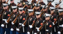 Members of the Marines march during the presidential inauguration at the U.S. Capitol January 20, 2017 in Washington, DC. (Photo by Jack Gruber-Pool/Getty Images)