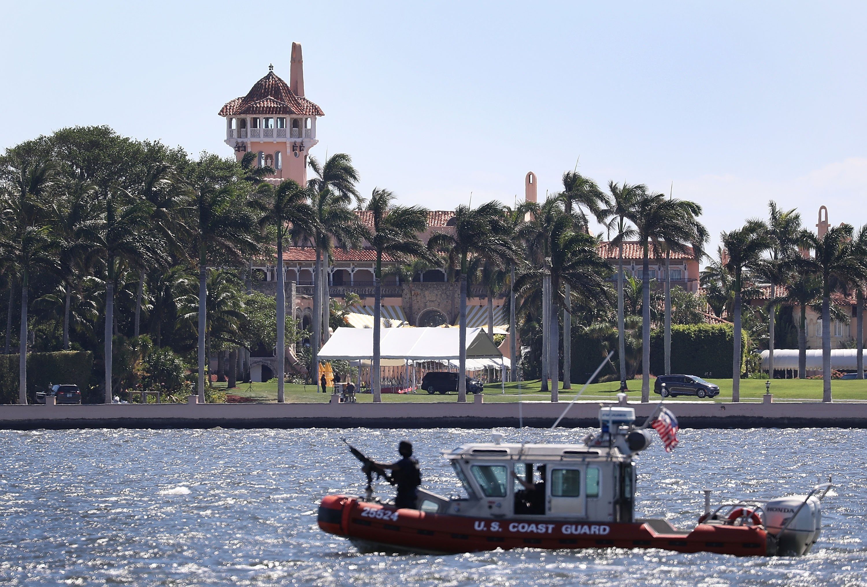 PALM BEACH, FL - APRIL 07: A Coast Guard boat is seen patrolling in front of the Mar-a-Lago Resort where President Donald Trump held meetings with Chinese President Xi Jinping on April 7, 2017 in Palm Beach, Florida. The two presidents spoke about China/US relations as well as the U.S. bombing of Syria last night. (Photo by Joe Raedle/Getty Images)