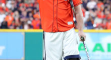 J.J. Watt of the Houston Texans throws out the ceremonial first pitch before game three of the 2017 World Series between the Houston Astros and the Los Angeles Dodgers in October 2017 in Houston. (Photo by Tom Pennington/Getty Images)