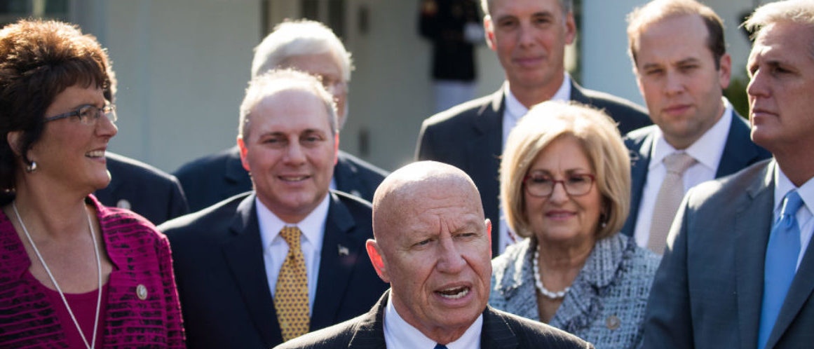 WASHINGTON, DC - NOVEMBER 02: House Ways and Means Committee chairman Rep. Kevin Brady (R-TX), surrounded by fellow members of his committee, addresses reporters following a meeting with President Donald Trump at the White House, November 2, 2017 in Washington, DC. On Thursday, Republican lawmakers unveiled their plans for a massive rewrite of the U.S. tax code. (Drew Angerer/Getty Images)