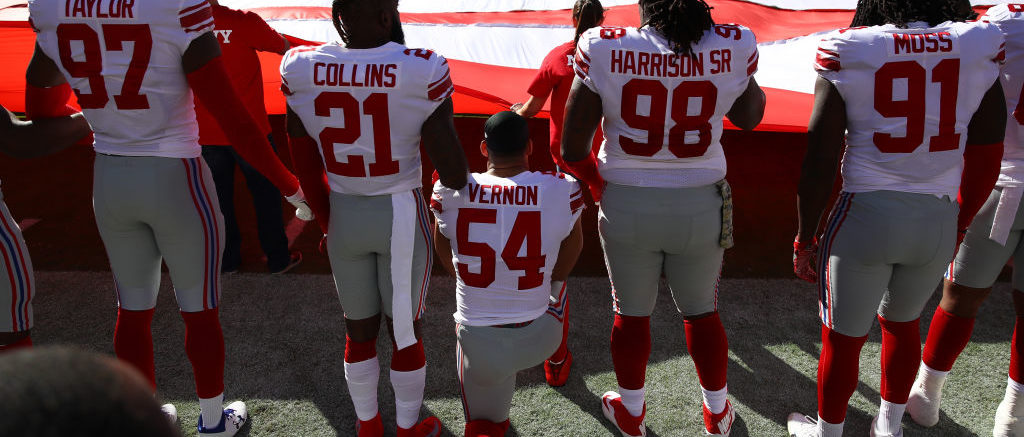 SANTA CLARA, CA - NOVEMBER 12: Olivier Vernon #54 of the New York Giants kneels during the national anthem prior to their NFL game against the San Francisco 49ers at Levi's Stadium on November 12, 2017 in Santa Clara, California. (Photo by Ezra Shaw/Getty Images)