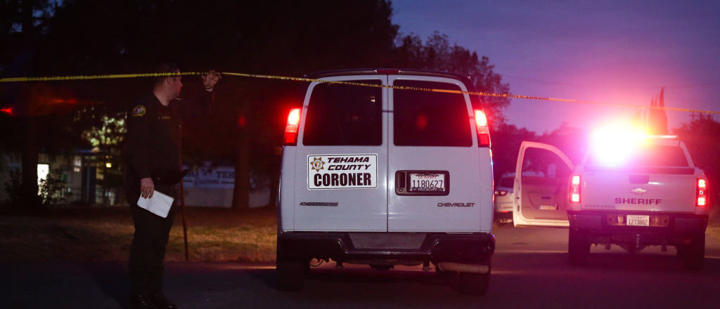 A Tehama County Coroner's van enters the Rancho Tehama Elementary school grounds after a shooting on November 14, 2017, in Rancho Tehama, California. / AFP PHOTO / Elijah Nouvelage        (Photo credit should read ELIJAH NOUVELAGE/AFP/Getty Images)