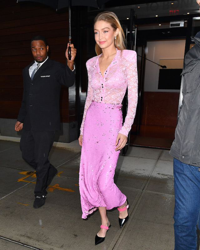 Gigi Hadid seen wearing a pink outfit on her way to the 'Today Show' in New York City, New York. <P> Pictured: Gigi Hadid <B>Ref: SPL1619536 121117 </B><BR /> Picture by: Robert O'neil/Splash News
