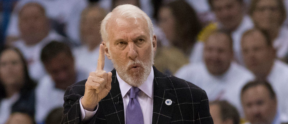 OKLAHOMA CITY, OK - MAY 6: Gregg Popovich of the San Antonio Spurs calls instructions to his team as they play the Oklahoma City Thunder during the first half of Game Three of the Western Conference Semifinals during the 2016 NBA Playoffs at the Chesapeake Energy Arena on May 6, 2016 in Oklahoma City, Oklahoma. (Photo by J Pat Carter/Getty Images)