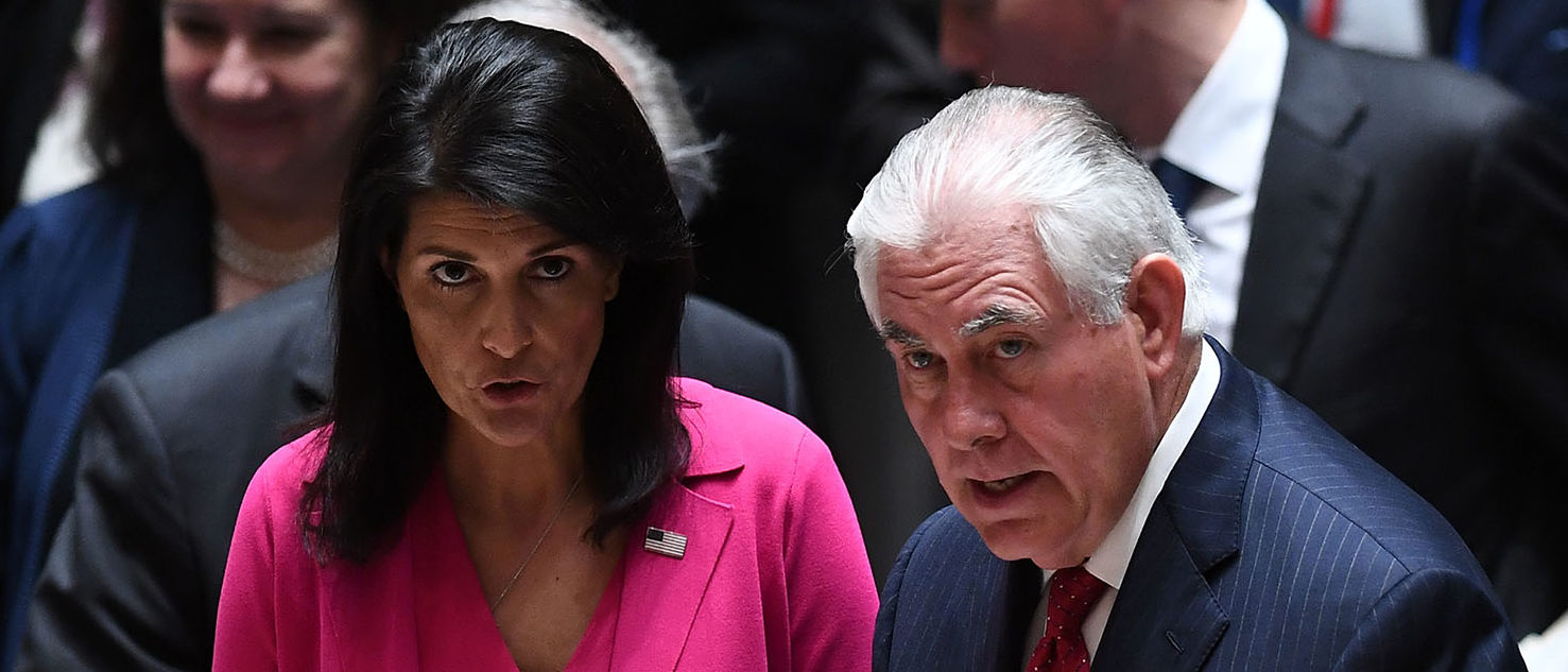 U.S. Secretary of State Rex Tillerson (R) and US Ambassador to the UN Nikki Haley arrive for a security council meeting on North Korea at the United Nations headquarters in New York on April 28, 2017. (Photo: JEWEL SAMAD/AFP/Getty Images)