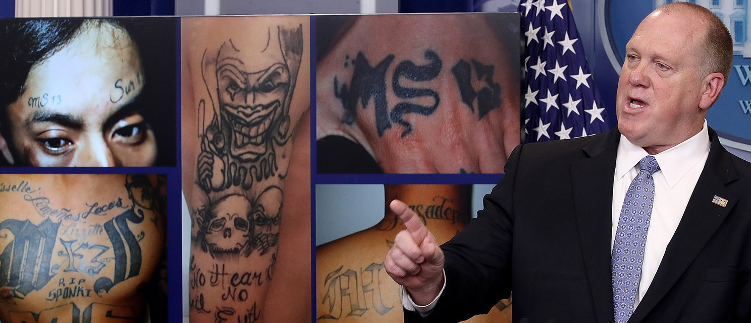 Tom Homan, Director of Immigration and Customs Enforcement, answers questions in front of gang related photos from the MS-13 gang during a daily briefing at the White House July 27, 2017 in Washington, DC. Homan answered a range of questions during the briefing. (Photo by Win McNamee/Getty Images)