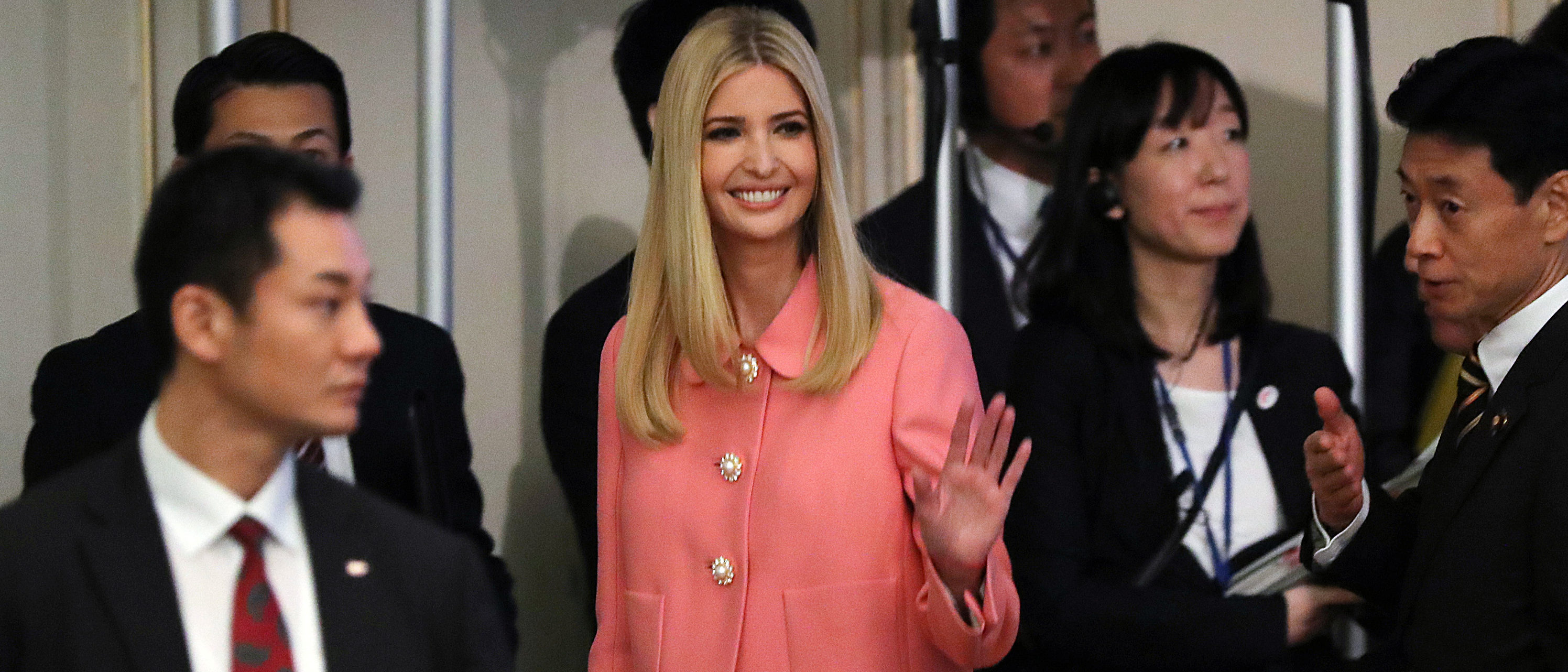Ivanka Trump, the daughter and assistant to President Donald Trump, waves after delivering a speech at World Assembly for Women: WAW! 2017 conference Friday, Nov. 3, 2017 in Tokyo. REUTERS/Eugene Hoshiko/Pool