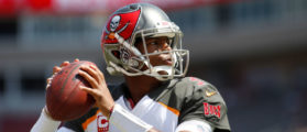 Quarterback Jameis Winston #3 of the Tampa Bay Buccaneers warms up before the start of an NFL football game against the Chicago Bears on September 17, 2017 at Raymond James Stadium in Tampa, Florida. (Photo by Brian Blanco/Getty Images)