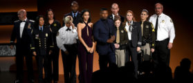LOS ANGELES, CA - NOVEMBER 19: Corinne Foxx (center L) and Jamie Foxx (center R) and first responders pose onstage during the 2017 American Music Awards at Microsoft Theater on November 19, 2017 in Los Angeles, California. (Photo by Kevin Winter/Getty Images)