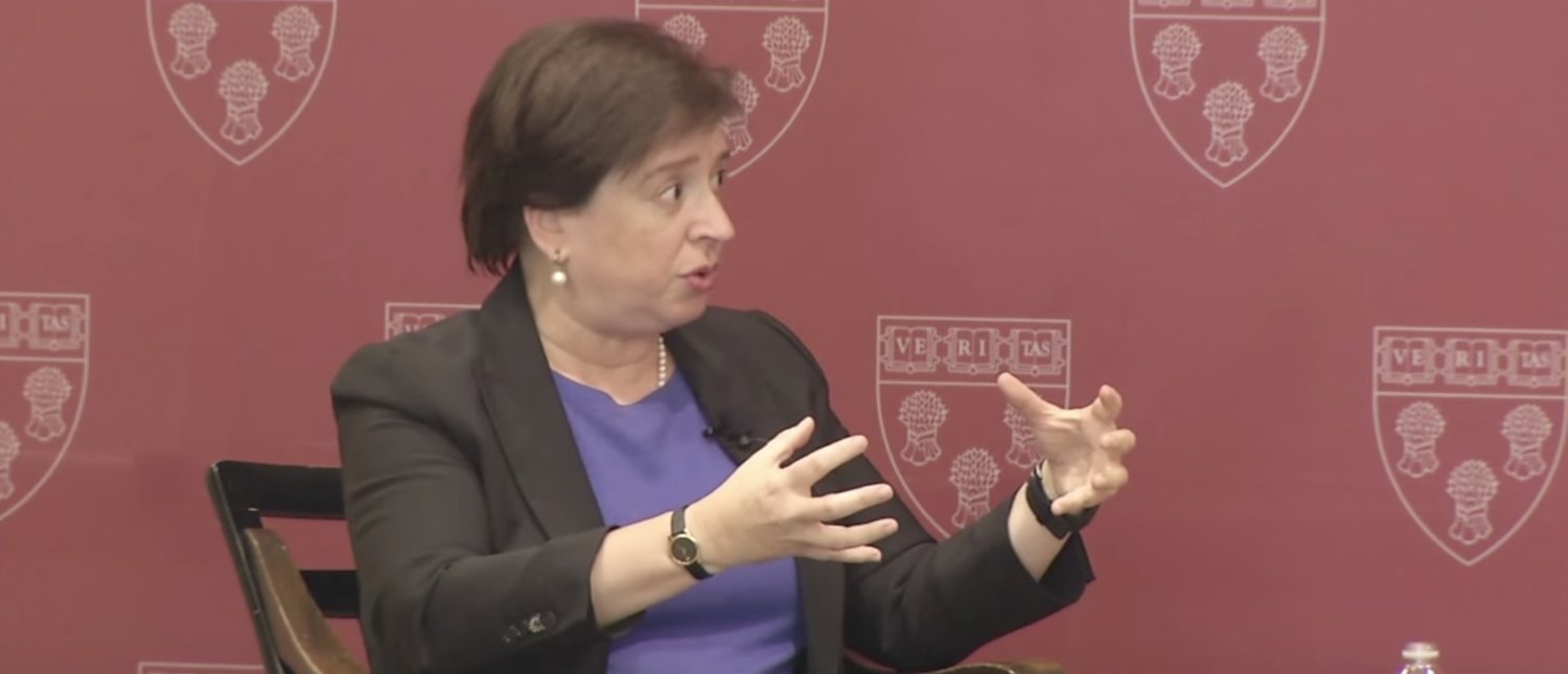 Justice Elena Kagan speaks at Harvard Law School in 2015. (YouTube screenshot/Harvard Law School)