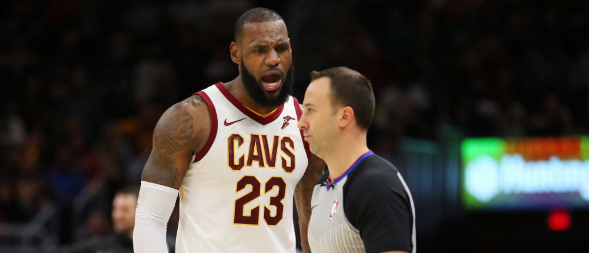 CLEVELAND, OH - NOVEMBER 28: LeBron James #23 of the Cleveland Cavaliers argues after being ejected in the second half by referee Kane Fitzgerald #5 while playing the Miami Heat at Quicken Loans Arena on November 28, 2017 in Cleveland, Ohio. Cleveland won the game 108-97. (Photo by Gregory Shamus/Getty Images)