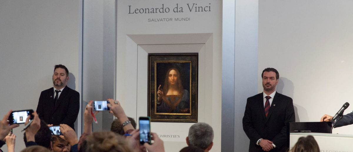 """""""Salvator Mundi,"""" an ethereal portrait of Jesus Christ which dates to about 1500, the last privately owned Leonardo da Vinci painting, is on display for the media at Christie's auction in New York, NY, U.S., October 10, 2017. (Photo: Courtesy Christies New York/Handout via REUTERS)"""