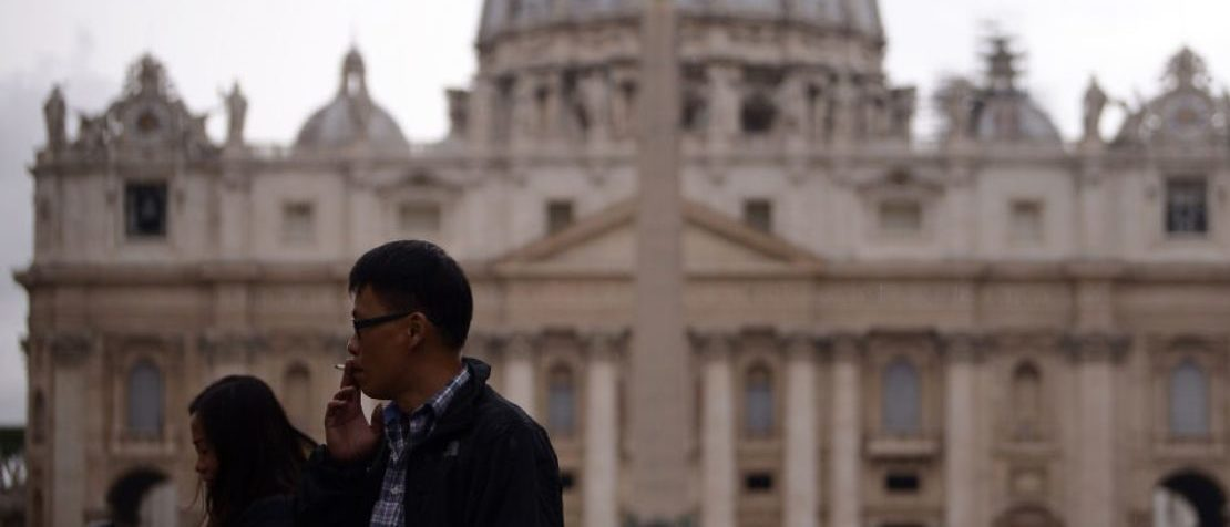 A man smokes a cigarette at St Peter's Square at the Vatican on November 9, 2017 as Pope Francis has outlawed the sale of cigarettes at the Vatican in a bid to lead by example on healthy living.     (FILIPPO MONTEFORTE/AFP/Getty Images)