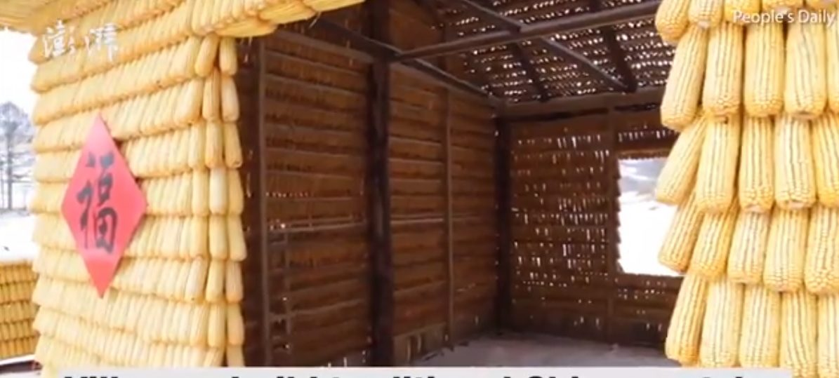 A man built a house out of 30,000 corn cobs (Photo: Peoples Daily, China via Facebook)