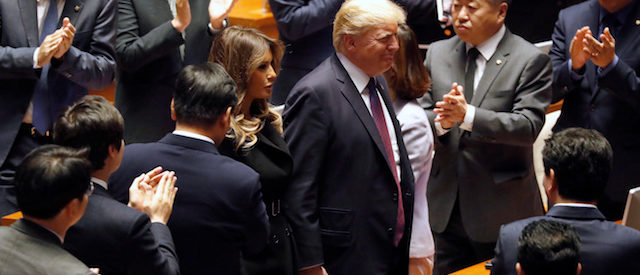 U.S. President Donald Trump and first lady Melania arrive at the South Korean National Assembly in Seoul, South Korea, November 8, 2017. REUTERS/Jonathan Ernst - RC1EA04CDDD0