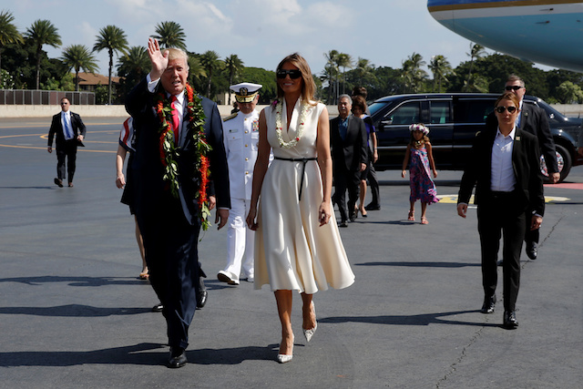 Melania Trump Wears Electric Blue Jacket & Matching Pumps to Depart for Asia