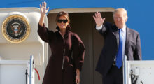 U.S. President Donald Trump and first lady Melania board Air Force One as they depart for Seoul, at U.S. Air Force Yokota base in Fussa, on the outskirts of Tokyo, Japan, November 7, 2017. REUTERS/Toru Hanai - RC1305CE3A70