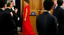 U.S. first lady Melania Trump and President Donald Trump arrive for an official dinner thrown in their honor by Japan's Prime Minister Shinzo Abe at Akasaka Palace in Tokyo, Japan November 6, 2017. REUTERS/Jonathan Ernst - RC15ED04C0C0