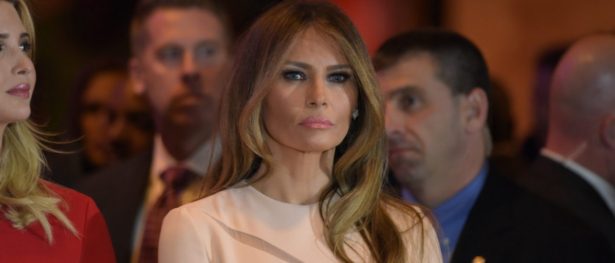NEW YORK CITY - APRIL 19 2016: Republican presidential front runner Donald Trump celebrated his anticipated victory in the New York primary with a brief press conference. Melania Trump. a katz (Shutterstock)