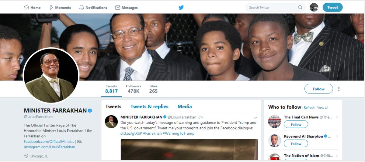 Minister Farrakhan/Twitter/Screenshot