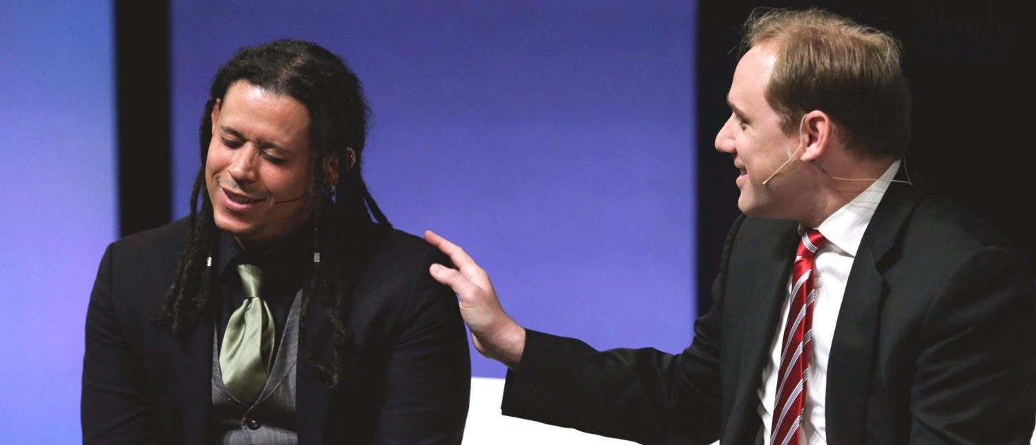 Director of Security Morgan Marquis-Boire (L) of First Look Media and CTO and co-founder of CrowdStrike Dmitri Alperovitch (R) appear at the Washington Ideas Forum presented by the Aspen Institute and the Atlantic in Washington October 30, 2014. REUTERS/Gary Cameron