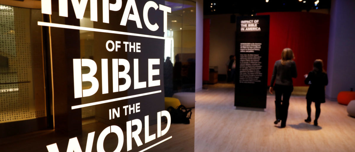 Visitors enter an exhibition at the Museum of the Bible during a preview day in Washington, U.S., November 14, 2017. REUTERS/Kevin Lamarque