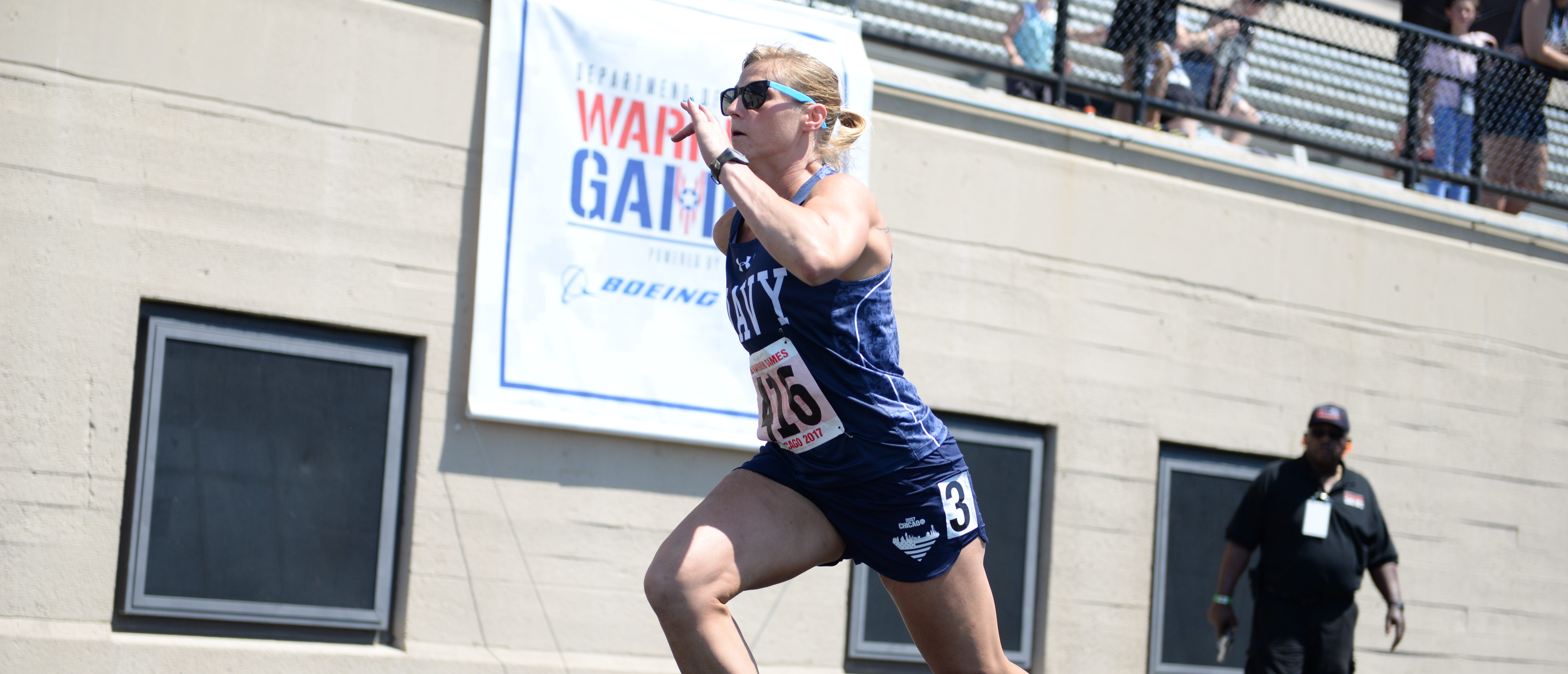 CHICAGO (July 2, 2017) Petty Officer 2nd Class Melissa Klotz, of Team Navy, runs the women's 100-meter dash during the 2017 Department of Defense Warrior Games. The DoD Warrior Games are an annual event allowing wounded, ill and injured service members and veterans to compete in Paralympic-style sports including archery, cycling, field, shooting, sitting volleyball, swimming, track and wheelchair basketball. (DoD photo by Mass Communication Specialist 1st Class Patrick Gordon)