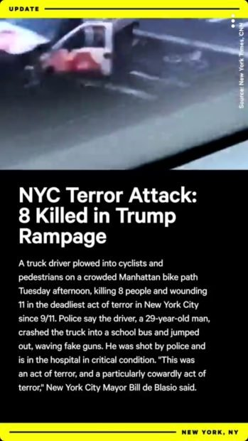 """NowThis mischaracterized the NYC terror attack as a """"Trump rampage"""" (Screenshot/Snapchat/NowThis)"""