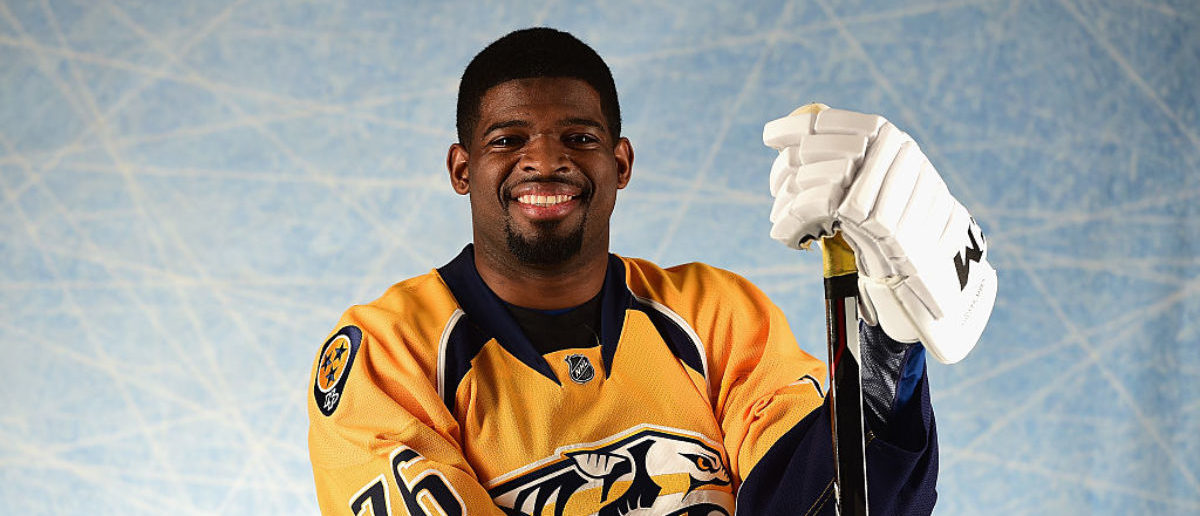 LOS ANGELES, CA - JANUARY 29: P.K. Subban #76 of the Nashville Predators poses for a portrait prior to the 2017 Honda NHL All-Star Game at Staples Center on January 29, 2017 in Los Angeles, California. (Photo by Harry How/Getty Images)