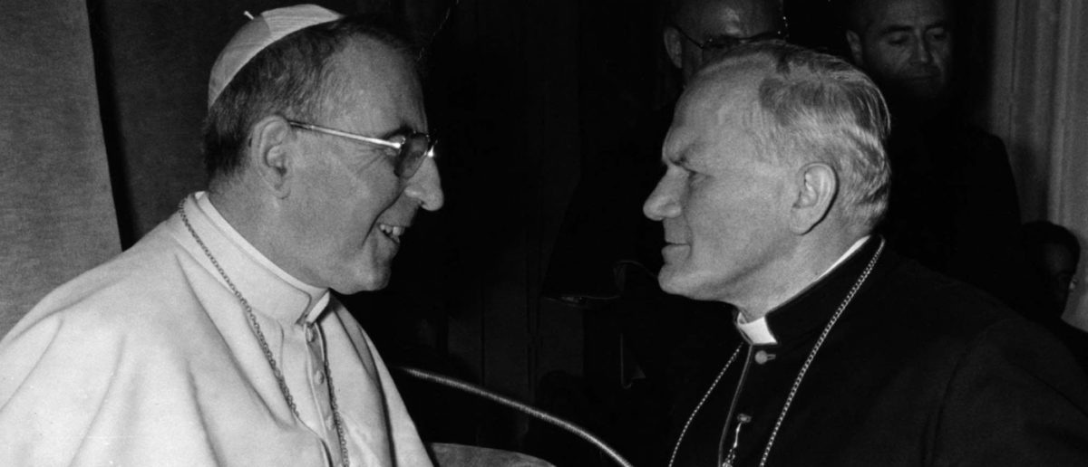Pope John Paul I (L) meets Cardinal Karol Wojtyla, archibishop of Kracow, in this October 16, 1978 file photograph. Cardinal Karol Wojtyla later became Pope John Paul II. The Pope died on April 2, the Vatican announced. The 84-year-old Pontiff, who headed the Roman Catholic Church for 26 years, died at 1937 GMT, a statement said. REUTERS/Vatican/File