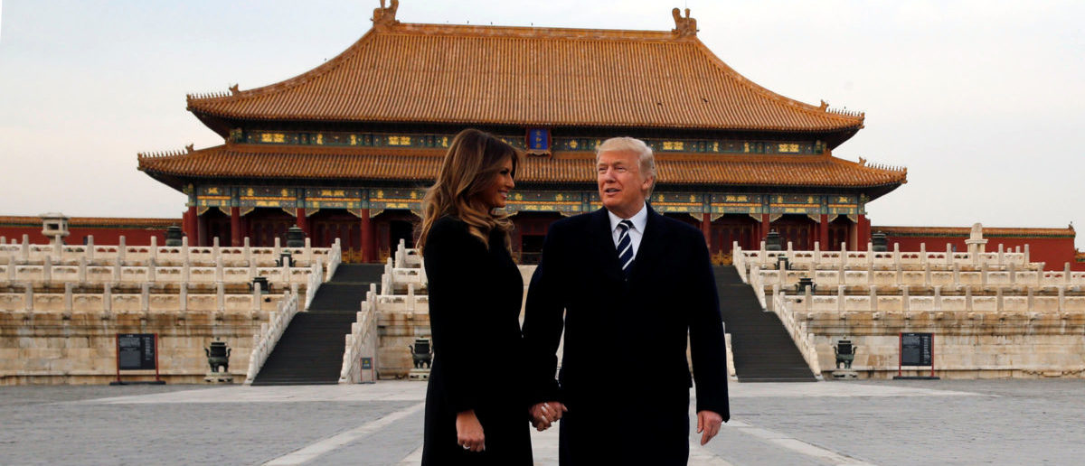 U.S. President Donald Trump and U.S. first lady Melania visit the Forbidden City in Beijing, China, November 8, 2017. (Photo: REUTERS/Jonathan Ernst)