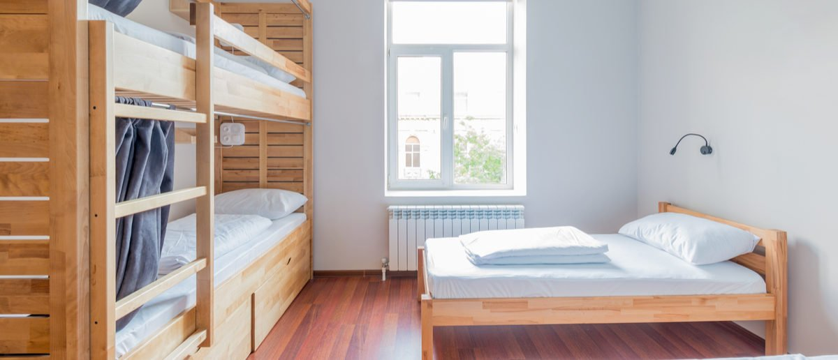 Hostel dormitory beds arranged in room Elnur (Shutterstock)
