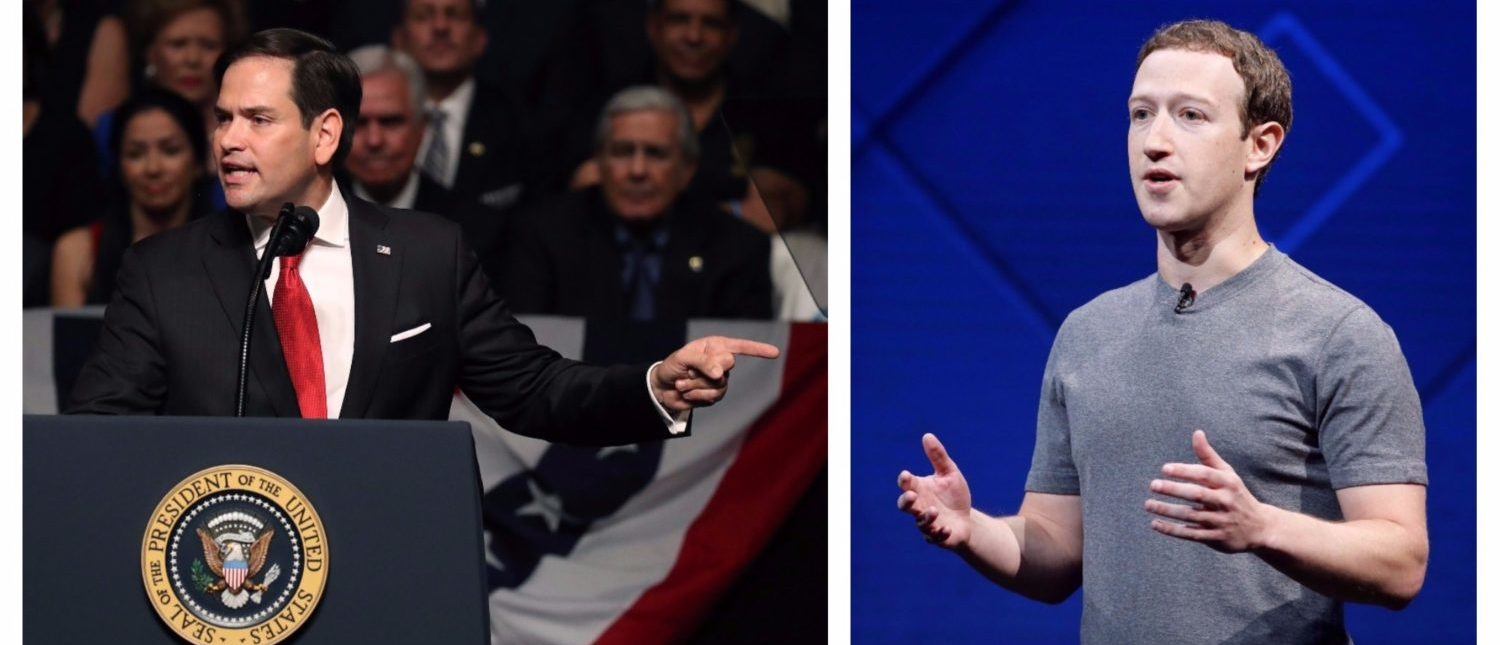 Left: Marco Rubio giving a speech. (Photo by Joe Raedle/Getty Images) Right: Facebook Founder and CEO Mark Zuckerberg speaks on stage during the annual Facebook F8 developers conference in San Jose, California, U.S., April 18, 2017. REUTERS/Stephen Lam
